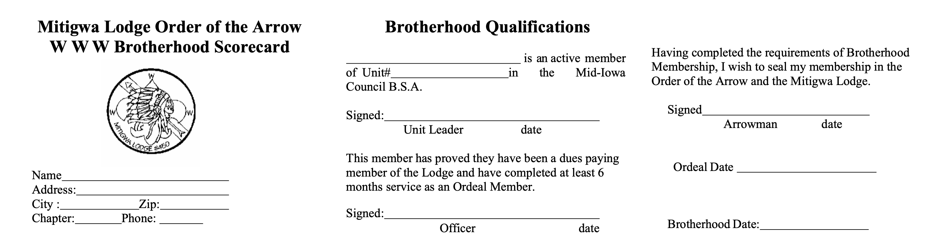 Brotherhood Scorecard